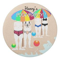 #party - #Summer Tropical Vaction Whimsical Beach Pool Party Eraser