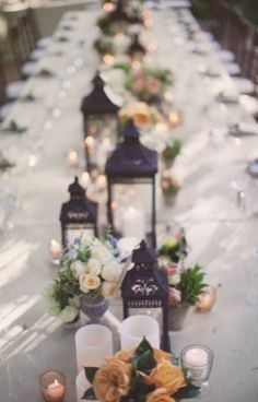 beautiful Lantern table decor.  Would look great for the head table