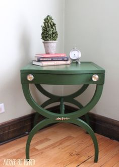A hand-me-down side table gets a fresh look with Country Chic Paint's Forever Green and pretty paper-lined drawers.