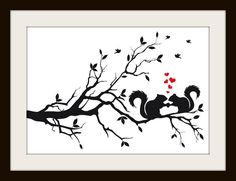 Squirrel Silhouette, Cross Stitch Pattern $4.47, via Etsy.