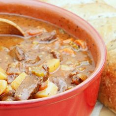 For the deer hunter: warm up with some delicious venison stew, which incorporates a variety of vegetables: onions, carrots, white mushrooms, and more. Find the recipe on the Silver Palate Cookbook Slow Cooker Venison, Venison Meat, Venison Recipes, Slow Cooker Recipes, Crockpot Recipes, Cooking Recipes, Cooking Venison, Cooking Stuff, Delicious Recipes