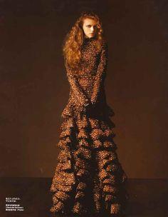 Vlada Roslyakova in Alexander McQueen, photographed by Pier Luigi Macor for Vogue China January 2007.
