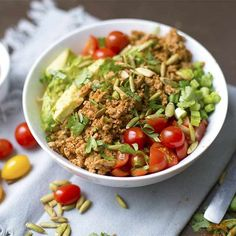 Ground Turkey Taco Bowls with Cauliflower Spanish Rice - Wholesomelicious