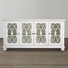 """72"""" Media Console Available in Antique Black and Antique White"""