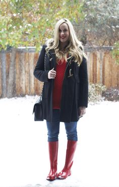 Red sweater and boots