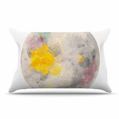 "Oriana Cordero ""Moonlight"" Gray Yellow Pillow Case"