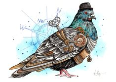 Another funky steampunk creation of this grey pigeon. A curious character with wisdom beyond his years.I used a mixture of mediums to create this piece including watercolour, ink, pencil crayon and a bit of acrylic.