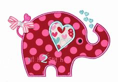 """Valentine Elephant Applique Design For Machine Embroidery (""""Shine Your Light"""" Font is NOT included) INSTANT DOWNLOAD now available"""