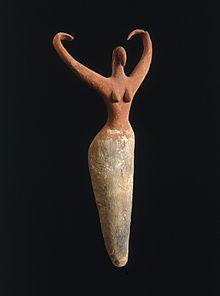 Female Figure, ca. 3500-3400 B.C.E. Terracotta, painted, 11 1/2 x 5 1/2 x 2 1/4 in. (29.2 x 14 x 5.7 cm). Brooklyn Museum