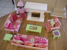 Doll Couch Loveseat Chair Tables with Fireplace for American Girl Dolls