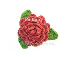 Rose and Leaves Crochet PATTERN by KendalsCreationsSt #rose #crochetpattern