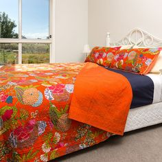 Bright India Handmade Bird Kantha Bedding Blanket Quilt-throw Twin Vintage-bed-cover To Win A High Admiration And Is Widely Trusted At Home And Abroad. Bedding Quilts, Bedspreads & Coverlets