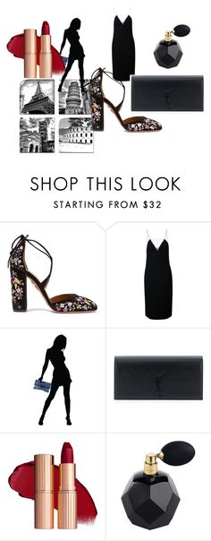"""""""Untitled #644"""" by blankakvas on Polyvore featuring Aquazzura, Alexander Wang, Dsquared2 and Yves Saint Laurent"""
