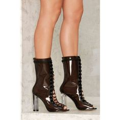 See Right Through Me Lace-Up Boot ($78) ❤ liked on Polyvore featuring shoes, boots, black, high heeled footwear, laced boots, open toe high heel boots, black laced boots and high heel boots
