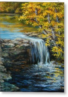 Waterfall Painting - Bailey Lake Spillway by Virginia Potter Watercolor Landscape, Landscape Art, Landscape Paintings, Watercolor Art, Waterfall Paintings, Scenery Paintings, Beautiful Paintings, Beautiful Landscapes, Bob Ross Paintings