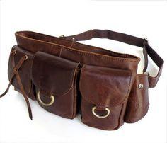 Vintage  Genuine Leather Waist Bag Fanny Pack Bum Bag Adjustable Belt Purse