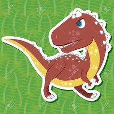 Carnotaurus とかわいい恐竜ステッカー ロイヤリティフリークリップアート、ベクター、ストックイラストレーション。. Image 16263622.