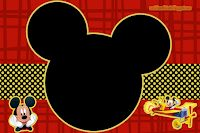 Charming Child: Mickey Party Kit Black Red and Yellow Print For Free Mickey E Minnie Mouse, Mickey Mouse 1st Birthday, Mickey Party, Free Printable Banner, Free Printables, Printable Party, Scrapbook Da Disney, Mickey Mouse Invitation, Mickey Mouse Decorations