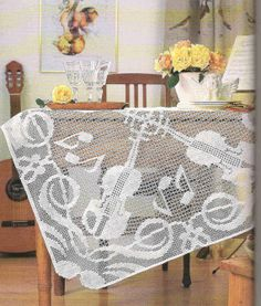 Handmade Filet Crochet Tablecloth, White, Heirloom,  Victorian, Rustic, Wedding Gift