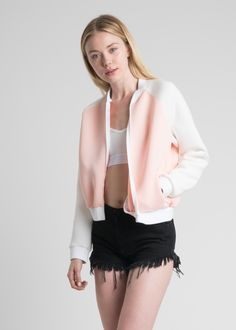 Cool out in this dope jacket. Pink bomber jacket made of light neoprene. Rock it with our Babe Crop Tee. Returns and Exchanges Policy Shipping Specifications: - Item ships from Bangkok. Please allow 2