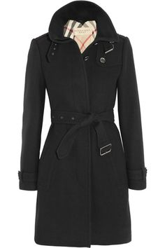Black mid-weight felted wool-blend twill Buttoned epaulettes, buckled collar, tabbed cuffs, side pockets, buckled belt, back vent, fully lined Button fastenings through front 70% wool, 25% polyamide, 5% cashmere; sleeve lining: 100% viscose; upper body lining: 54% cotton, 37% acetate, 9% cupro; lower body lining: 100% viscose Dry clean