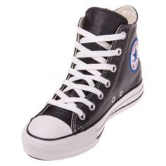 The Converse Chuck Taylor All Star Leather Black Hi Top shoe is cut above the rest, with a sleek and shiny leather upper, rubber outsole and sturdy, long-lasting vulcanized construction.