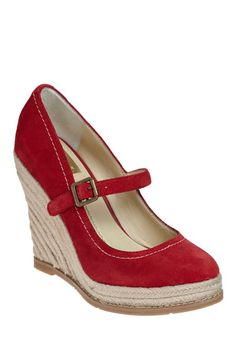 Red espadrille wedges with strap.  These look like they already live in my closet.