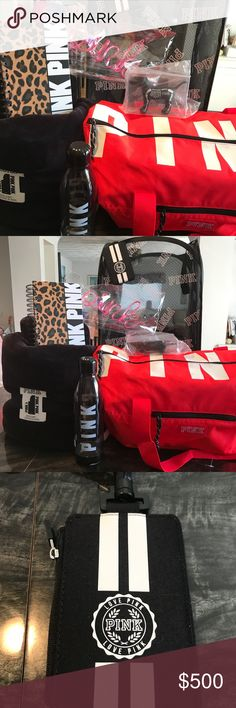 BNWT Pink Victoria'sSecret COLLEGE BOUND BNWT VS PINK College Bound set includes 1- Sherpa blanket 50x60 black/ white PINK written down the sides 1- red duffle bag PINK written along the zip top  1- water bottle  1- black/white zip top ID lanyard 1 2017/2018 planner  1- Halloween collectible PINK skeleton dog& 1-PINK CRAZY STRAW  I DO NOT TRADE  will price drop selling as a bundle only all rude comments will be blocked PINK Victoria's Secret Accessories