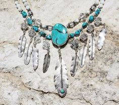 """LONE EAGLE STUDIOS """"SUNRAYS"""" STERLING, CRYSTAL  TURQUOISE FEATHERS NECKLACE from Cowgirl Kim Country Jewelry, Western Jewelry, Boho Jewelry, Silver Jewelry, Jewelry Accessories, Fashion Jewelry, Jewelry Design, Native American Jewellery, American Indian Jewelry"""
