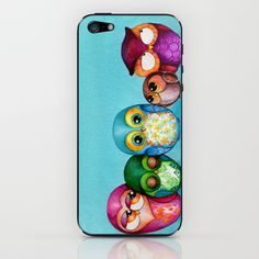 Fabric Owl Family iPhone & iPod Skin by Annya Kai - $15.00