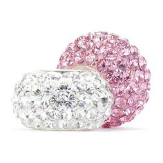 Set of 2 - Bella Fascini Pink & Clear Crystal Pave Sparkle Bling - Special Mix - Solid .925 Sterling Silver Core European Charm Bead Made with Authentic Swarovski Crystals - Compatible Brand Bracelets : Authentic Pandora, Chamilia, Moress, Troll, Ohm, Zable, Biagi, Kay's Charmed Memories, Kohl's, Persona & more!