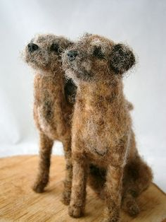 Needle felted border terriers
