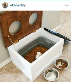 Keep your dog's food fresh and out of the way with this DIY dog food station with storage. The project includes free printable plans too! Read more: DIY Dog Food Station with Storage – Addicted 2 DIY Dog Food Stands, Dog Food Bowl Stand, Dog Food Bowls, Dog Food Bin, Pet Bowls, Dog Food Storage, Storage Ideas, Craft Storage, Storage Shelves