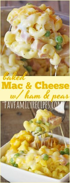 Homemade macaroni and cheese with ham and peas is a perfect, quick meal that is always creamy (NEVER grainy). Get creative with the add-ins and toppings! #macaroniandcheese #macandcheese #dinner #ham #onedishdinner #peas #bakedmacandcheese #cheese #cheesy #creamymacandcheese #glutenfree via @favfamilyrecipz