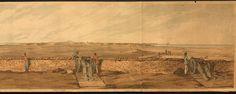 colored acquatint by J Powell after Capt Samuel Walker 3rd Guards, a panoramic view of Alexandria, Egypt (1801)