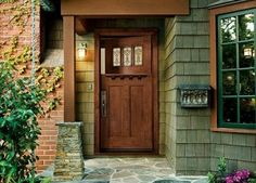 The 'Craftsman Dutch Door' from JELD-WEN features art glass and a shelf. — Arts  Crafts Homes and the Revival