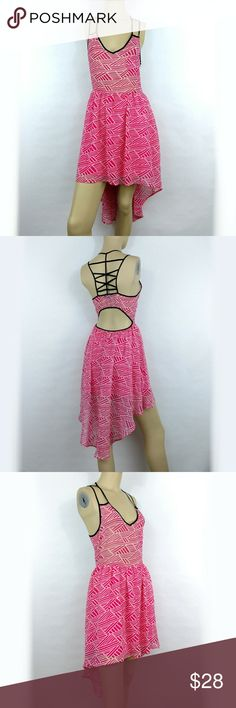 DOUBLE ZERO Pink Racerback Strappy Dress. Small DOUBLE ZERO Pink Racerback Strappy Summer Flowy Asymmetrica Dress Women's Small (Ppr) Double Zero Dresses