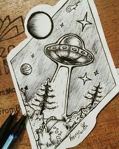 Ufo drawing tattoo #ufo #et #drawing #drawingpen #alien