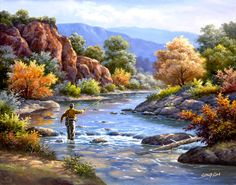 SUNG KIM ~ fishing ~ river ~ autumn