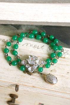 Vintage green rosary beaded, rhinestone wrap bracelet. Tiedupmemories