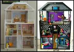 I decided to use my daughter old doll house and transform it to a Monster high doll house! it is worth it and way better than buying the original Monster high house which cost $70 and it is very small