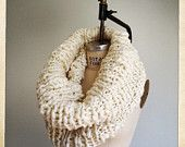 Chunky Hand Knit Snood Circular Scarf  Ivory Color