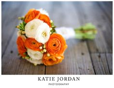 our wedding: orange and white rananculus