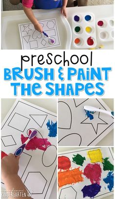 Preschool: Healthy Habits This brush and paint shape activity is a super fun way to practice identifying shapes, and fine motor skills with a healthy habits theme. Great for tot school, preschool, or even kindergarten! Body Preschool, Preschool Lesson Plans, Preschool Classroom, Preschool Learning, In Kindergarten, Preschool Activities, Preschool Shapes, Shape Activities For Preschoolers, Preschool Art Lessons