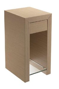 Cineline High Bedside table stocked in Pure white lacquer. 59h x 30 x 36cm