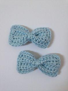Crochet hair bows - pale blue  100% cotton £3 per pair