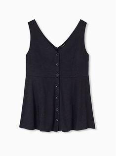 Plus Size Black Floral Jacquard Button Front Fit & Flare Peplum Tank, DEEP BLACK