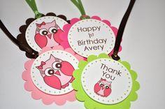 12 Birthday Favor Tags - Owl Girls 1st Birthday Party Decorations. $10.00, via Etsy.