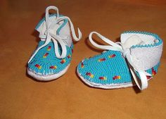 Great New Pair of LAKOTA Sioux Beaded Baby Moccasins | eBay