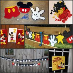 Mickey Mouse Birthday Ideas. Hello, easy garland with the Cricut!